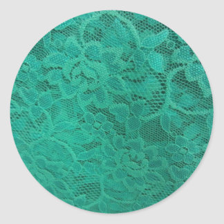 Teal Lace Classic Round Sticker