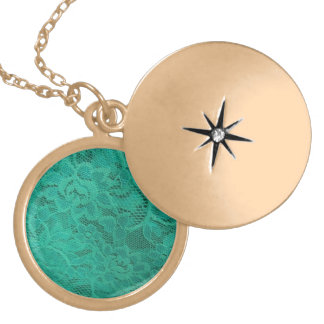 Teal Lace Gold Plated Necklace