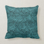 Teal Lace Pattern Pillow