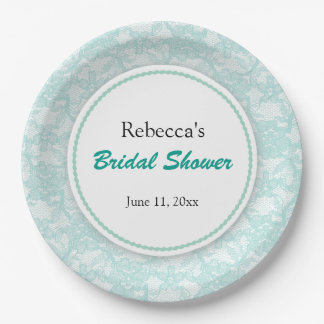 Teal Lace Personalized Bridal Shower 9 Inch Paper Plate