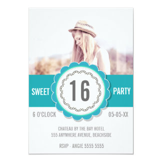 """Teal Lace Photo Sweet 16 Birthday Party Invite 5"""" X 7"""" Invitation Card"""