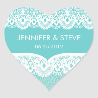Teal Lace Wedding Stickers