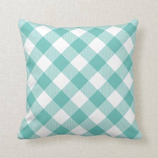Large Teal Throw Pillow : Teal Large Scale Gingham Throw Pillow Zazzle