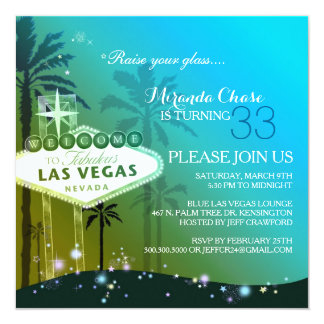 Teal Las Vegas Birthday Party Card