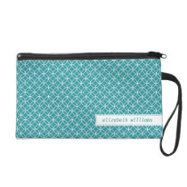 Teal Lattice Circles Pattern Wristlet Purse