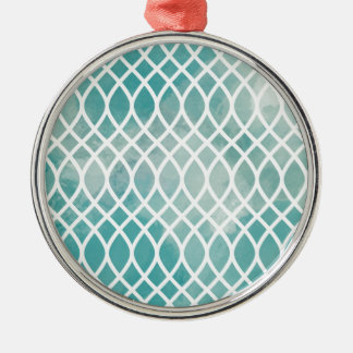Teal Lattice Watercolor Pattern Metal Ornament