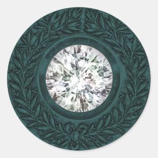 Teal Laurel Wreath and Diamond Envelope Seal Stickers