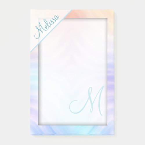 Teal Lavender Yellow Melon Monogram Post-it Notes
