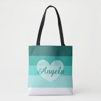 Teal Layers Personalized Name Tote Bag