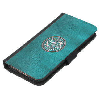 Teal Leather and Celtic Knot Galaxy S5 Wallet Case
