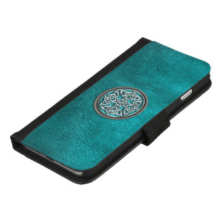 Teal Leather and Celtic Knot iPhone 6 Wallet Case