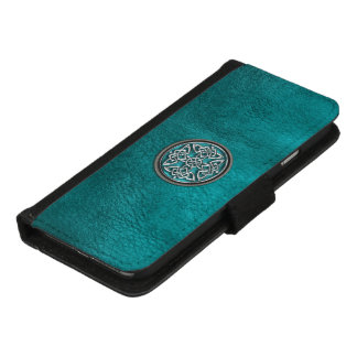 Teal Leather and Celtic Knot iPhone Wallet Case