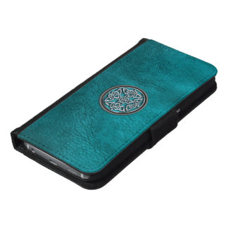 Teal Leather and Celtic Knot Phone Wallet Case