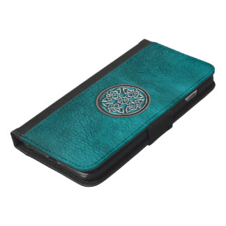 Teal Leather and Celtic Knot Wallet Case