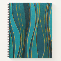 Teal Leather and Gold Sea  Wave Pattern Notebook