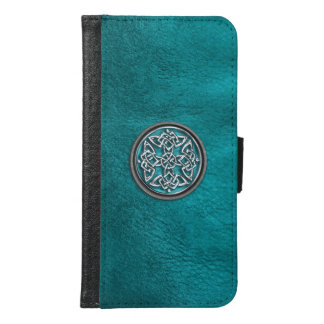 Teal Leather Celtic Knot Galaxy S6 Wallet Case