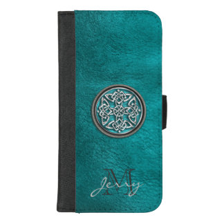 Teal Leather Celtic Knot iPhone Wallet Case