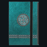 """Teal Leather Celtic Knot Tribal iPad Mini Case<br><div class=""""desc"""">Personalized Teal Leather Celtic Knot Tribal iPad Mini Case. A faux leather folio cover in a rich teal blue green with a silver, stone and mint green Celtic shield knot, and silver Celtic chains. Fill in your name and initial at the prompt to personalize and customize anyway you like. Celtic...</div>"""