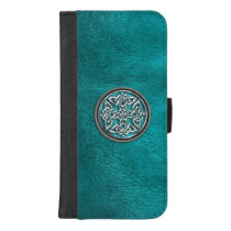 Teal Leather Celtic Knot Wallet Case