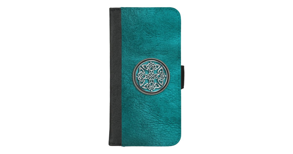 Teal Leather Celtic Knot Wallet Case  2fc0b588c4