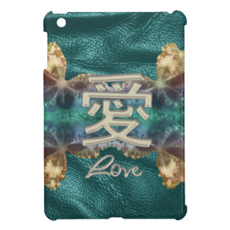 Teal Leather Ivory and Gold Chinese Love Symbol iPad Mini Covers