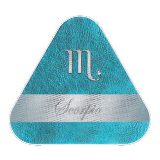 Teal Leather-Look Zodiac Sign Scorpio Speaker