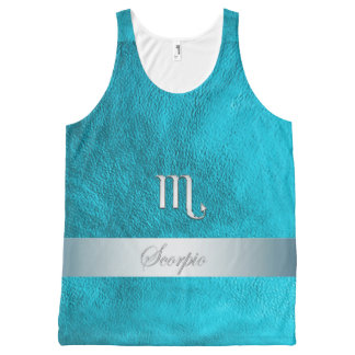 Teal Leather Zodiac Sign Scorpio All-Over Print Tank Top