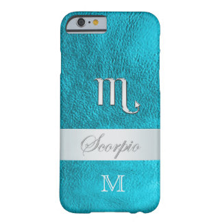 Teal Leather Zodiac Sign Scorpio Barely There iPhone 6 Case