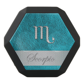 Teal Leather Zodiac Sign Scorpio Black Bluetooth Speaker