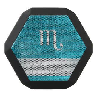 Teal Leather Zodiac Sign Scorpio Black Bluetooth Speaker