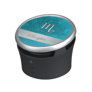Teal Leather Zodiac Sign Scorpio Bluetooth Speaker