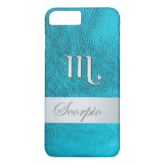 Teal Leather Zodiac Sign Scorpio Iphone 7 Plus Case at Zazzle