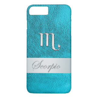 Teal Leather Zodiac Sign Scorpio iPhone 7 Plus Case