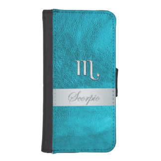 Teal Leather Zodiac Sign Scorpio iPhone SE/5/5s Wallet Case