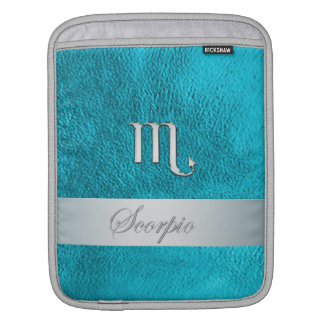 Teal Leather Zodiac Sign Scorpio Sleeve For iPads