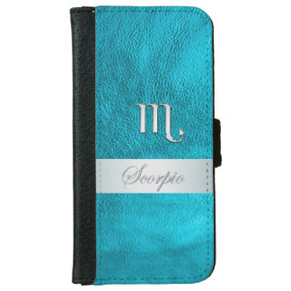 Teal Leather Zodiac Sign Scorpio Wallet Phone Case For iPhone 6/6s