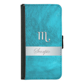 Teal Leather Zodiac Sign Scorpio Wallet Phone Case For Samsung Galaxy S5