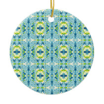 Teal Lemon Artistic Geometric Fractal Pattern Ceramic Ornament