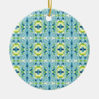 Teal Lemon Artistic Geometric Fractal Pattern Ceramic Ornament