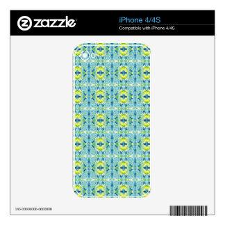 Teal Lemon Artistic Geometric Fractal Pattern iPhone 4S Decals
