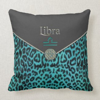 Teal Leopard and Black Velvet Libra Pillow