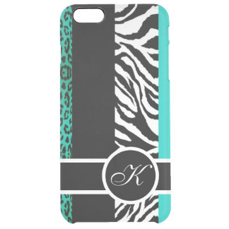 Teal Leopard and Zebra Animal Print Monogram Clear iPhone 6 Plus Case