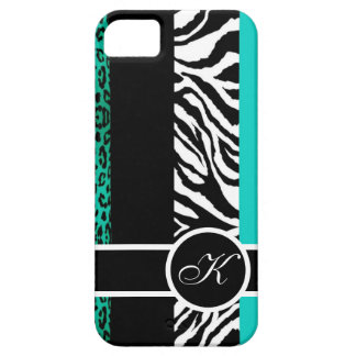 Teal Leopard and Zebra Animal Print Monogram iPhone SE/5/5s Case