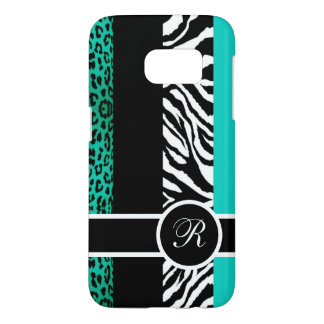 Teal Leopard and Zebra Animal Print Monogram Samsung Galaxy S7 Case