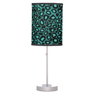 Teal Leopard Animal Print Desk Lamp