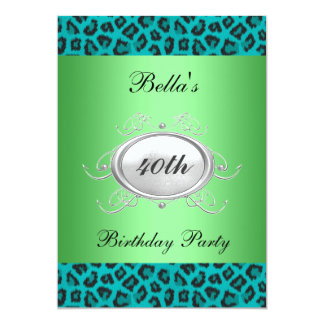 Teal Leopard Birthday Party Invitation