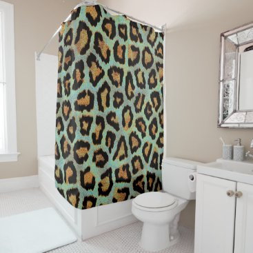 Beach Themed Teal leopard chic animal print shower curtain