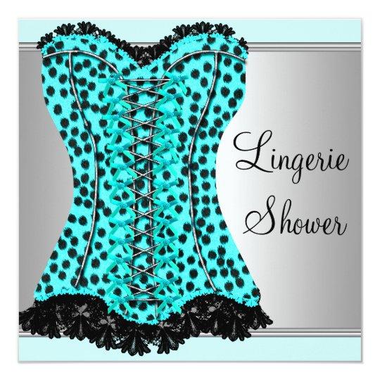 Teal Leopard Corset Lingerie Bridal Shower Card