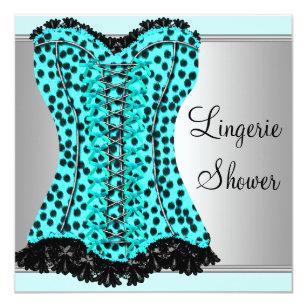 Teal Leopard Corset Bridal Shower Invitation