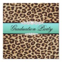 Teal Leopard Graduation Party Invitation